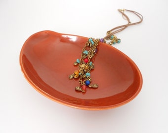 Trinket Dish - Kidney Shaped Jewelry Dish - Paisley Catchall Dish - Rust Burnt Orange Organizer Dish Plate