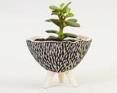 Black and White Pottery Planter Ceramic Planter ~ Modern Planter Ceramic Plant Pots ~ Ceramic Tripod Planter Cactus Planter Handmade Pottery