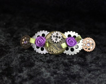 Steampunk and Roses Hair Clip - Barrette