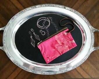 Pink Marbled Zipper Clutch