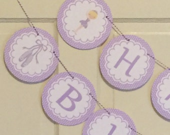 DANCE and TWIRL BALLERINA Birthday or Baby Shower Party Banner Lavender Purple