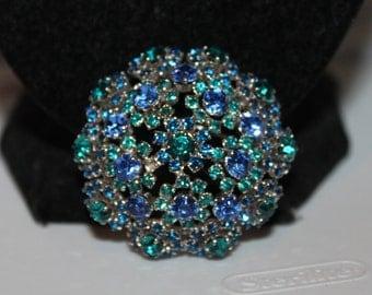 Vintage Beautiful Blue Rhinestone Brooch/Scarf Pin