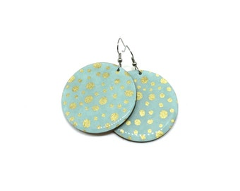 Aqua Earrings, Gold polka dots, Turquoise, Pastel, Japanese paper, Large Dangles, Laser cut, Resin finish, Pattern will vary, 2 sizes