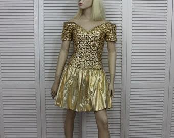 Vintage Party Dress Jessica McClintock Gold Sequin Prom Size 5/6