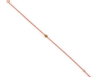 Dainty Chain Bracelet - Rose Gold Bracelet - Delicate Tiny Gemstone Bracelet - Layering Bracelet - Petite Peridot Bracelet - Birthstone
