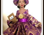 Black History Month Art Doll, African American Inspirational Handcrafted Black Doll, Afrocentric Love Token in African Dress