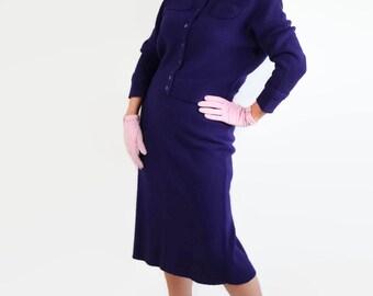 50s Sweater Dress, Purple Knit Suit, Bradley Knits, Sweater Girl