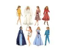 1980s Fashion Doll Barbie Clothes Sewing Pattern McCalls 8333 Wedding Dress Cape Square Dance Jogging Suit UNCUT FACTORY FOLDED