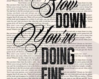 Vienna Book Page - Billy Joel Lyrics Typography Print