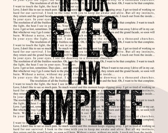 In Your Eyes Book Page - Peter Gabriel Lyrics Typography Print