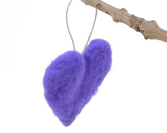 Purple felt heart ornament - Wool felted valentines ornament