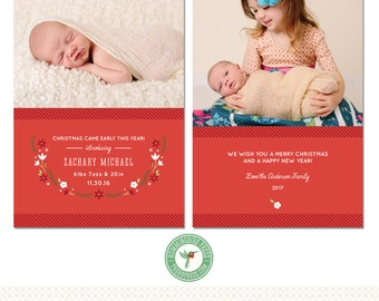 5x7 Birth Announcement and Christmas Card Template - H57