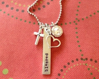 Blessed long tag necklace with bling crystal, heart, and cross