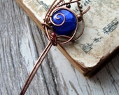 Blue Lampwork Copper Hair stick, hair pin, metal hair fork,  boho bun pin, wire wrap hair accessories, long hair stick