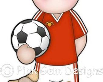 Digi Stamp Football Andy. Boy's Birthday, Cards, Invitations etc