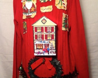 Cookie Christmas House Ugly Christmas Sweater size XL nostalgic Christmas the roof comes off so you can add party favors inside