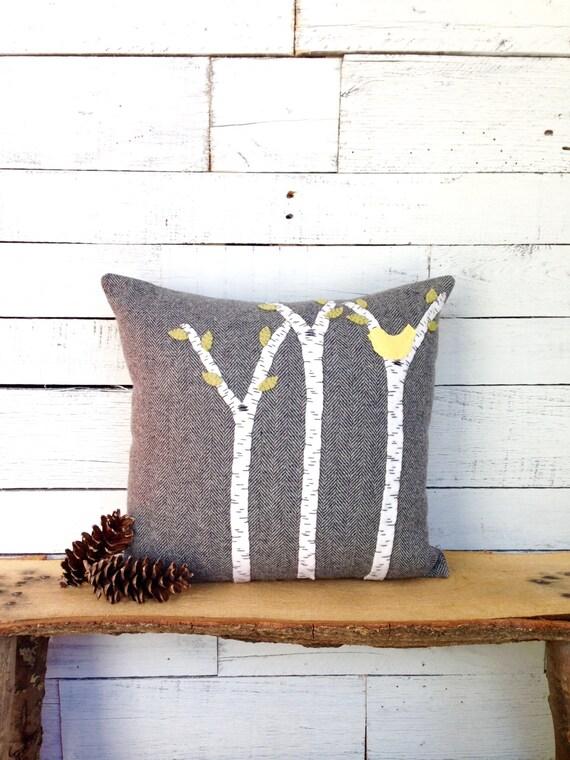 Woodland Pillow, Rustic Cabin Pillow, Rustic Home Decor, Birch Tree Pillow, Birch Tree Decor,  Woodland Nursery, Rustic Pillow 16x16 Pillow