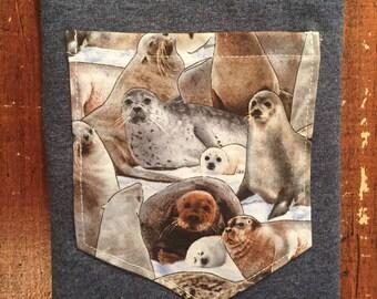 Sea lion seals pocket tee shirt s/m/l/xl/xxl/xxxl