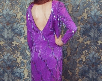 Vintage Sequin Dress /Party dress/size small/