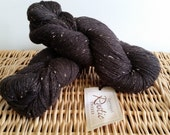 Worsted Tweed Yarn, Wool Blend Yarn, Queensland Collection Rustic Tweed Black 110, Alpaca Blend