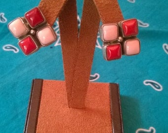 Pink and Red Coral Earrings