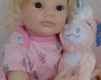 """Reborn 18"""" Newborn Baby Girl Doll """"Li' Sarah"""" from D.Rubert's """"Dumplin"""" sculpt"""
