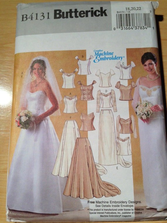 Butterick 4131 Sewing Pattern Misses Bridal Wedding Gown Lined Top and Skirt Uncut Size 18-22