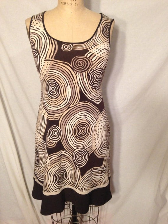 Vintage Brown and Tan Sleeveless Abstract Swirl Dress d14