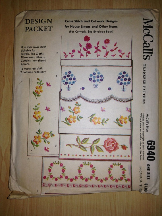 McCalls Sewing Pattern 6940 60s Transfer Pattern Cross Stitch and Cutwork Designs