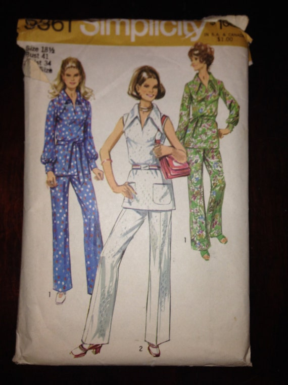 Misses Over Blouse and Pants Simplicity Sewing Pattern 9361 70s Size 18 1/2