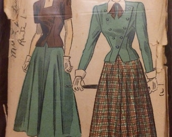 Advance 4899 Dress Skirt Jacket 1940s Size 16 Bust 34
