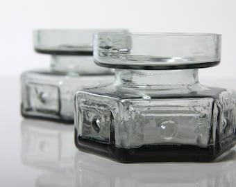 Vintage Dartington Glass pair of vases / candleholders, Panel & Spot, 1960s mid century modernist glass, Frank Thrower Kosta Whitefriars era