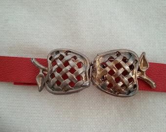 Apple buckle gold tone vintage clasp