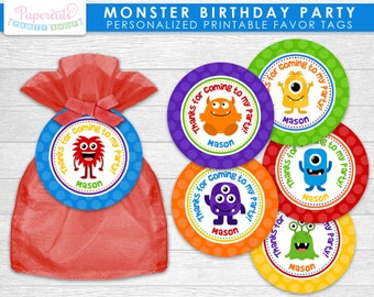 Little Monster Theme Birthday Party Favor Tag | Blue, Orange, Green, Yellow, Purple & Red | Personalized | Printable DIY Digital File