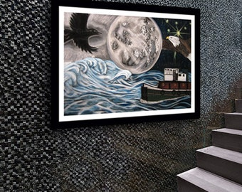 Wall Art Decor - Fantastical Sea Soaring Eagle & Crow - Wall Decor - Full Moon Drawing Art Print