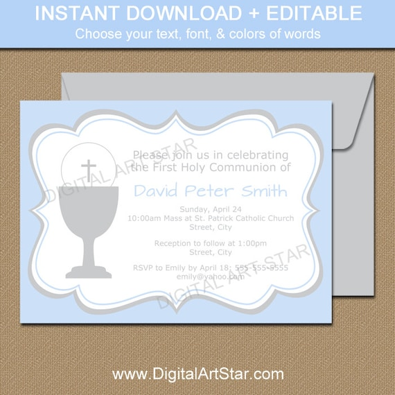 free printable confirmation invitations template - blue gray first communion invitation template printable