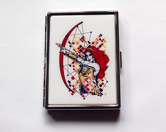 Warrior Woman Cigarette Case, Archery Cigarette Case, Slim Cigarette Case, Metal Wallet, Bow and Arrow, Strong Woman, Abstract Design (5937)