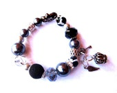 Adult Bubble Gum Bracelet - Kashmiri, Agate, Rhinestone, Silver Plate Spacers, Faceted Glass, Pearls, Silver Plated Charms Crown,Key&feather