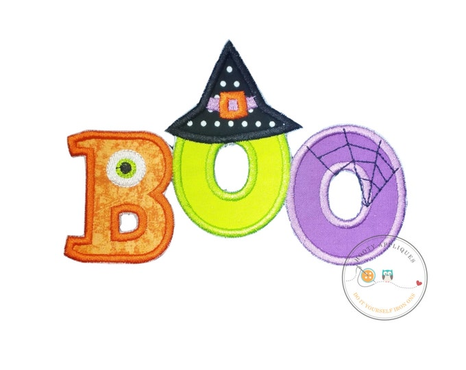 Boo halloween text emoridered fabric iron on applique, Cute monster and witch letter no sew iron on Halloween patch, ready to ship, pre-made