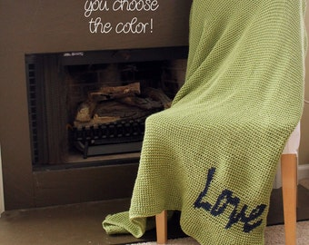 "Afghan Throw Blanket Crochet - Solid Light Green Afghan with Dark Blue ""Love"" - Made To Order"