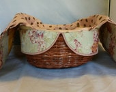 READY TO SHIP -  Handwoven Hand Quilted Large Covered Bread Basket Topiary