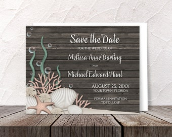 Rustic Wood Beach Save the Date cards - Seashells Sand Brown Wood Background - Printed Cards