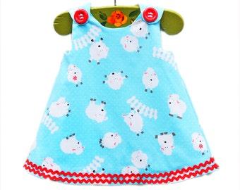Baby Sheeps - Baby Animals Dress - Children Clothing - Toddler Aline Pattern - Natural Dress - Jumper Dress Pattern - 3M to 4T