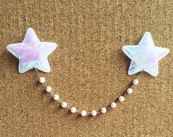 Kawaii Fairy Kei Harajuku Pop Kei Pastel Dolly Lolita Gyaru Deco Decora Sweetheart Holo Holographic Star Silver Chain Pearl Collar Pins