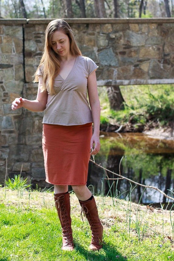 Betty Shirt, Organic Cotton Jersey Top, Handmade Organic Women's Clothing