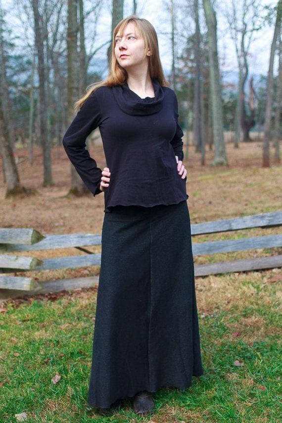 Cowl Shirt, American Grown Organic Cotton Jersey Top, Eco Friendly Handmade Women's Clothing