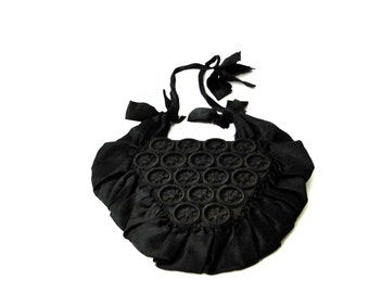 Victorian Handbag Antique Wristlet Black Silk Small Bag Purse Late 1800's Costume Steampunk Goth Women's Accessories