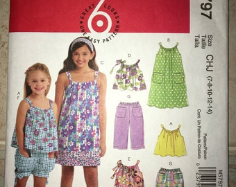 Clearance - Uncut Perfect Spring/Summer Sewing Pattern MCCALL'S M5797 Size 7 8 10 12 14 - Child Sleeveless Top, Dress, Pants, Shorts (2009)