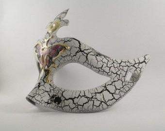 Butterfly Masquerade Mask White Venetian Domino Vintage Effect