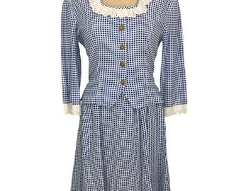 vintage 1930's gingham dress set / cotton / blue white / checkered / prairie country / 30s 40s dress / women's vintage outfit / size large